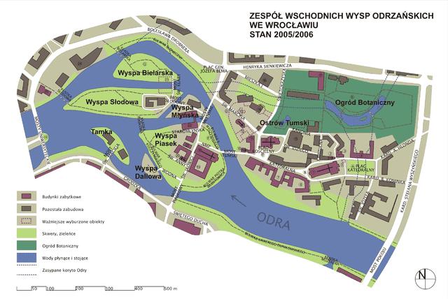 Wrocławskie wyspy: Wyspa Piasek i jej zabudowania